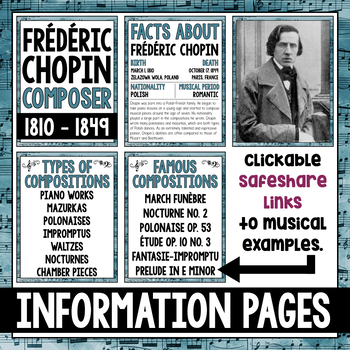 Music Composer of the Month: Frederic Chopin Bulletin Board Pack