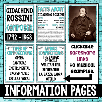 Music Composer of the Month: Gioachino Rossini Bulletin Board Pack