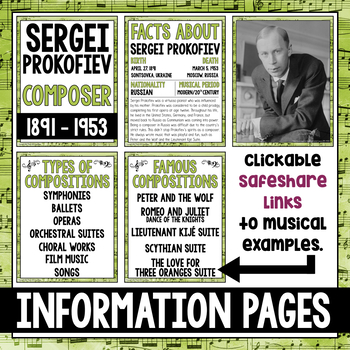 Music Composer of the Month: Sergei Prokofiev Bulletin Board Pack
