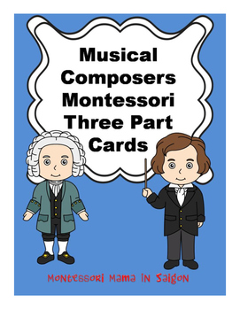 Music Composers Montessori Three Part Vocabulary Cards - color clip art