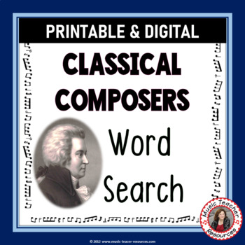 Music Word Search: Composers of the Classical Era: Music Composer Word Search