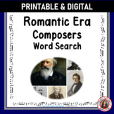 Music Word Search: Composers of the Romantic Era: Music Game