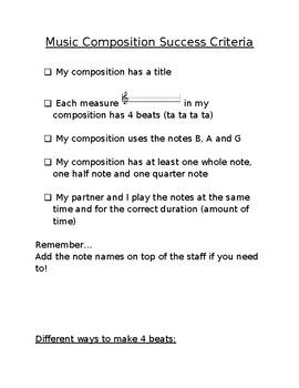 Music Composition Assignment Success Criteria