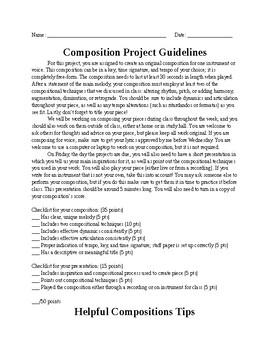 Music Composition Mini-Unit Project Guidelines