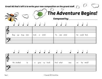 Music Composition Mini-book: Bugston's Adventures