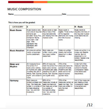 Music Composition Rubric