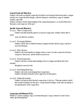 Music Composition Unit Synopsis, Objectives, and Standards