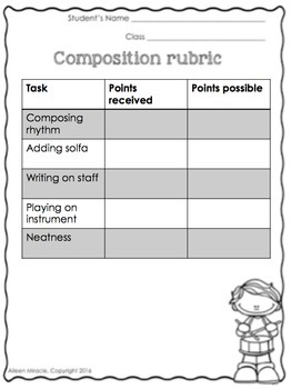 music composition worksheets second grade by aileen miracle tpt. Black Bedroom Furniture Sets. Home Design Ideas