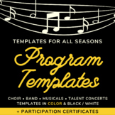 Music Concert Program Templates and Certificates - Fall, Winter, Spring, Summer
