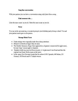 Music Conversation ESL Worksheet