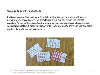 Music Task Cards Math Counting to 20 Count and Clip Special Education Math