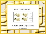 Distance Learning Music Math Count Clip Cards PreK, K, Special Ed