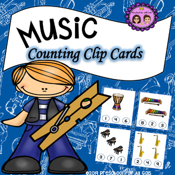 Music Counting Clip Cards