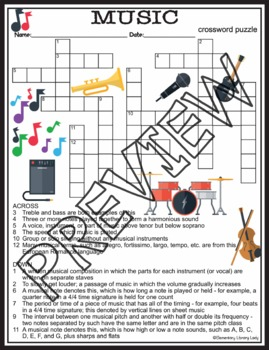 Music Activities Crossword Puzzle and Word Search Find