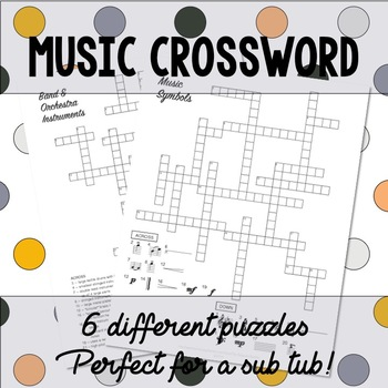 Music Crossword Puzzles by The Balanced Beehive | TpT