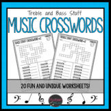 Music Crossword Worksheets - Treble and Bass Staff