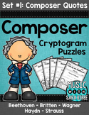 Music Cryptograms- Composer Quotes- Set #1