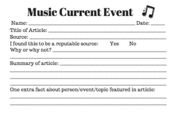 Music Current Event Activity