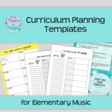Music Curriculum Planning Templates