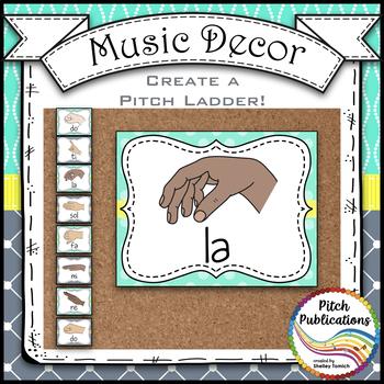 Music Decor - AQUA AND GRAY - Curwen Solfege Hand Signs, Diatonic & Chromatic
