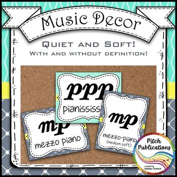 Music Decor - AQUA AND GRAY - Dynamics Posters (Elements of Music)