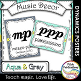 Music Decor - AQUA AND GRAY - Dynamics Posters (Elements o