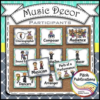 Music Decor - AQUA AND GRAY - Ensemble and Participants Posters