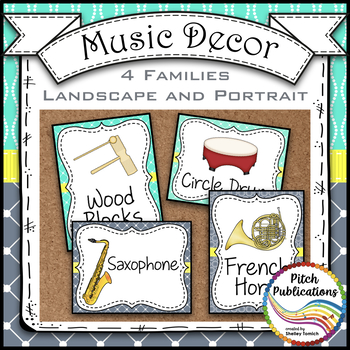 Music Decor - AQUA AND GRAY - Instrument Posters - Orchestra, Orff, and World!