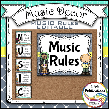 Music Decor - AQUA AND GRAY - Music Rules Posters, Tattling, and more!
