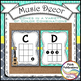 Music Decor - AQUA AND GRAY - Ukulele Chord Chart Posters