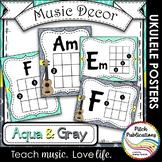 Music Decor - AQUA AND GRAY - Ukulele Chord Chart Posters