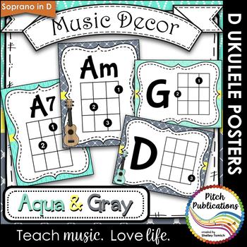 Music Decor Aqua And Gray Ukulele Chord Chart Posters D Tuning