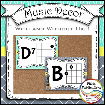 Music Decor - AQUA AND GRAY - Ukulele Chord Chart Posters D TUNING