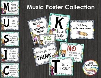 Music Decor BUNDLE - AQUA AND GRAY - posters, word wall, class rules, binders!