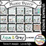 Music Decor BUNDLE - AQUA AND GRAY - posters, word wall, c