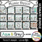 Music Decor BUNDLE - AQUA AND GRAY - posters, word wall, c