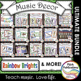 Music Decor BUNDLE - RAINBOW BRIGHTS - posters, word wall,