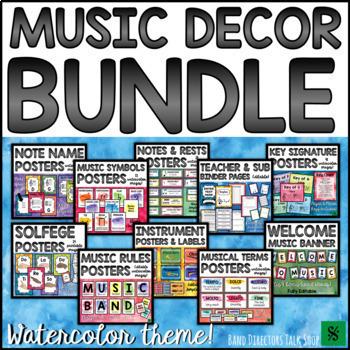 Music Bulletin Board BUNDLE: Editable Watercolor Music Posters