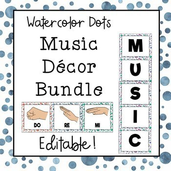 Music Decor Bundle (Watercolor Dots) Save 30%