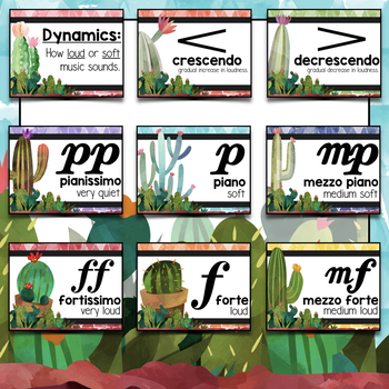 Music Decor: Cactus-Themed Dynamics Posters