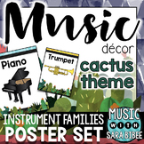 Music Decor: Cactus-Themed Instrument Family Posters