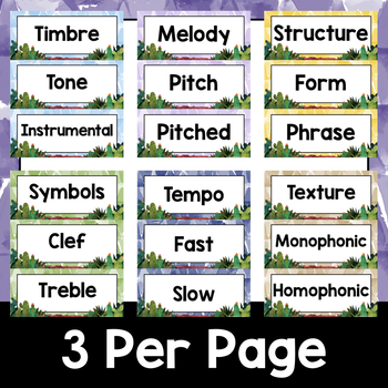 Music Decor: Cactus-Themed Music Term Cards