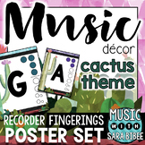 Music Decor: Cactus-Themed Recorder Fingering Posters