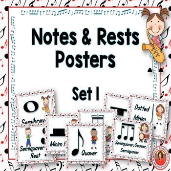 Music Decor: Notes and Rests Set 1: British Termininology