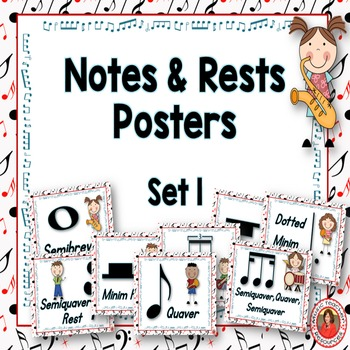 Music Posters: Music Decor: Notes and Rests Set 1: British Termininology
