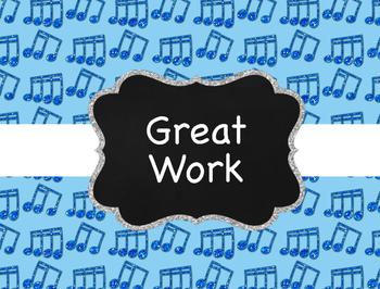 Music Decor: Glitter Music Behavior Clip Chart For Elementary Classroom