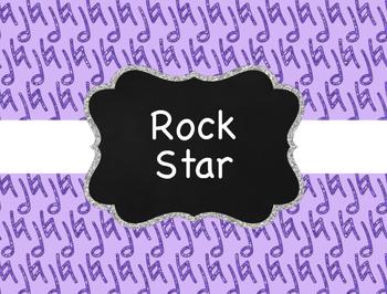 Music Decor: Glitter Rock Star Behavior Clip Chart for Elementary Music Room