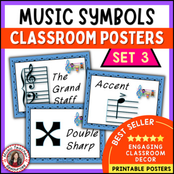 Music Classroom Decor Set: Music Symbols Posters Set 3