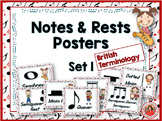 Music Decor: Notes and Rests Posters Set 1 British Terminology