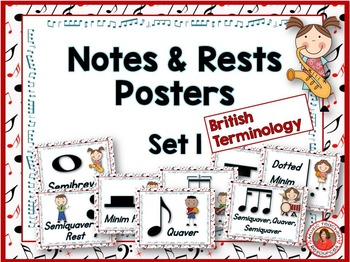 Music Class Decor: Notes and Rests Posters Set 1 British Terminology